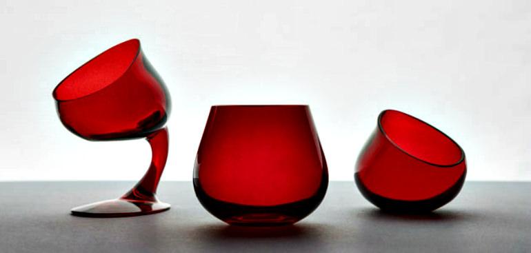 Red olive oil tasting glasses